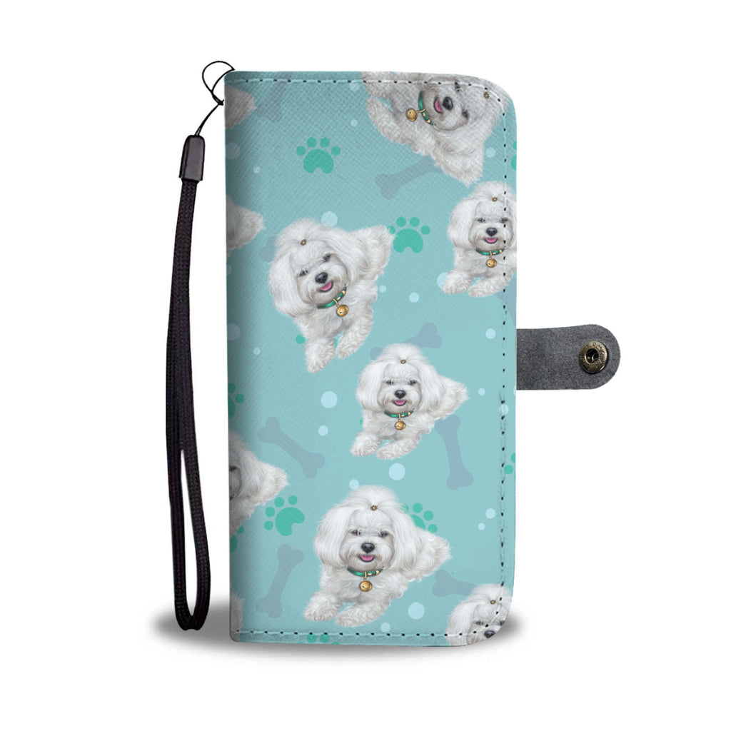 SHIH TZU Paw and Bone Design Shih Tzu Phone Wallet Case
