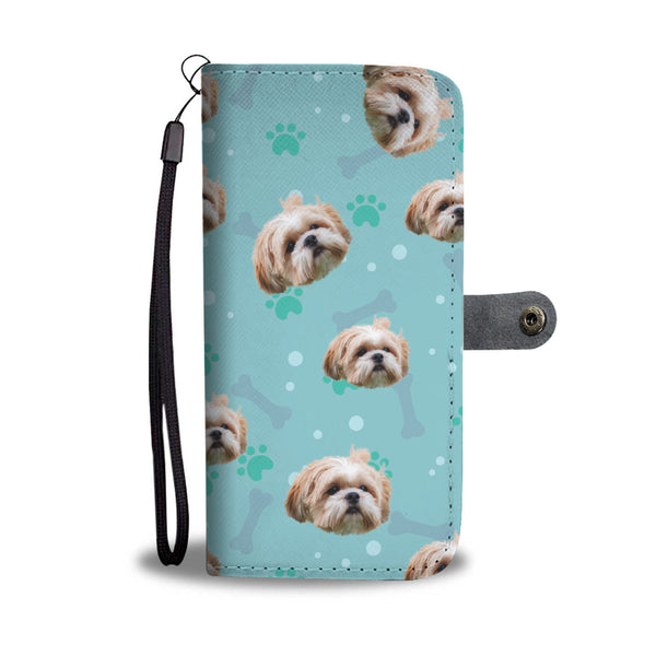 Personalized Custom Photo Shih Tzu Pet Face Wallet Phone Case With RFID Blocker