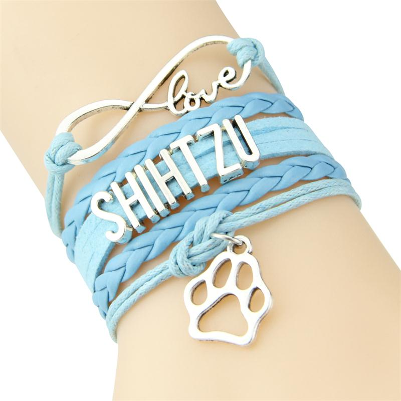 SHIHTZU LOVE Infinity Love Leather Braided Bracelet With Paw Print Charms