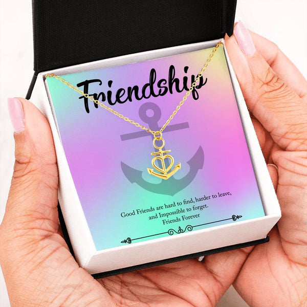 Friendship Anchor Necklace Jewelry Gift for Friend|Good Friends are Hard To Find