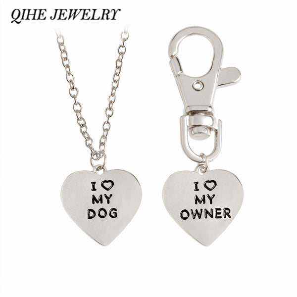 "Matching Two Piece Set!  ""I Love My Dog, I Love My Owner"" Heart Necklace And Dog Collar Charm"