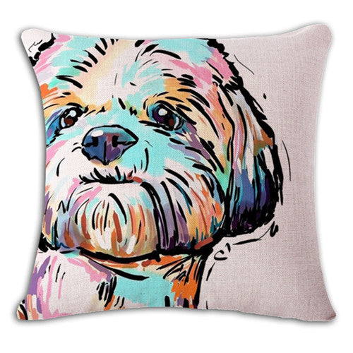Colorful Shih Tzu Cushion Cover