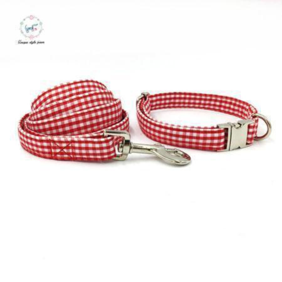 Snazzy Red Checkered Dog Collar with Matching Leash