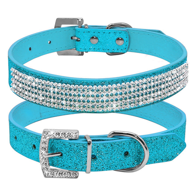Breakfast at Tiffany's Rhinestone and Leather Dog Collar