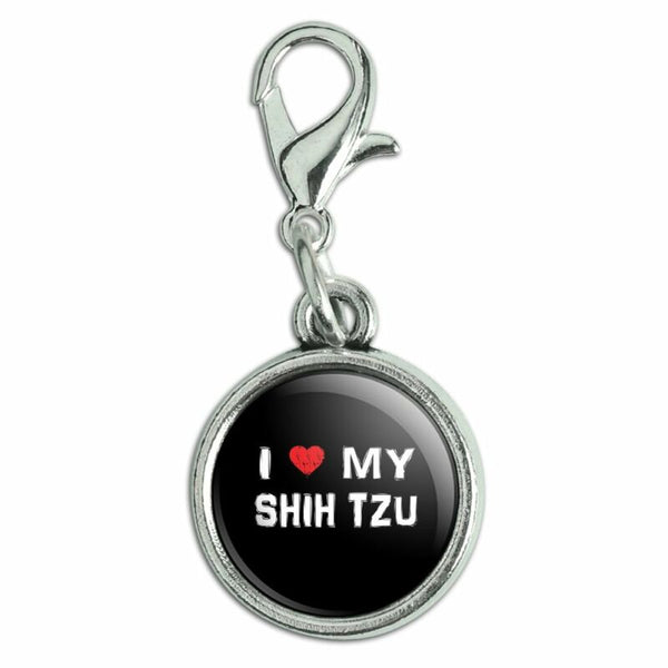 I Love My SHIHTZU Zipper Pull Pendant Charm with Lobster Clasp