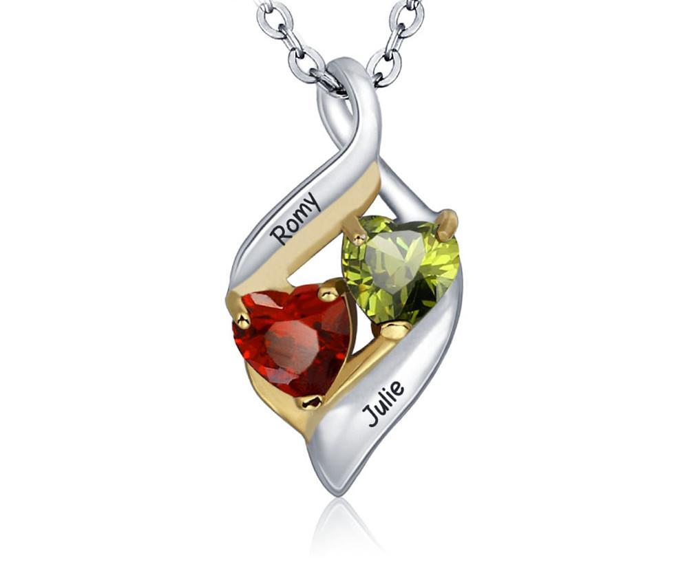Birthstone couple hearts pendant necklace cho1st birthstone couple hearts pendant necklace mozeypictures Images