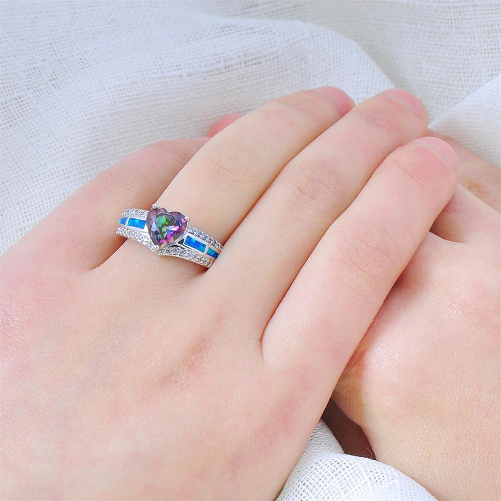 October Birthstone Ring Rainbow Opal Wedding Rings - Cho1st