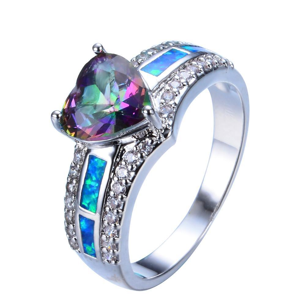zircon rings with color wedding ring beautiful stainless jewelry steel crystal rainbow austrian