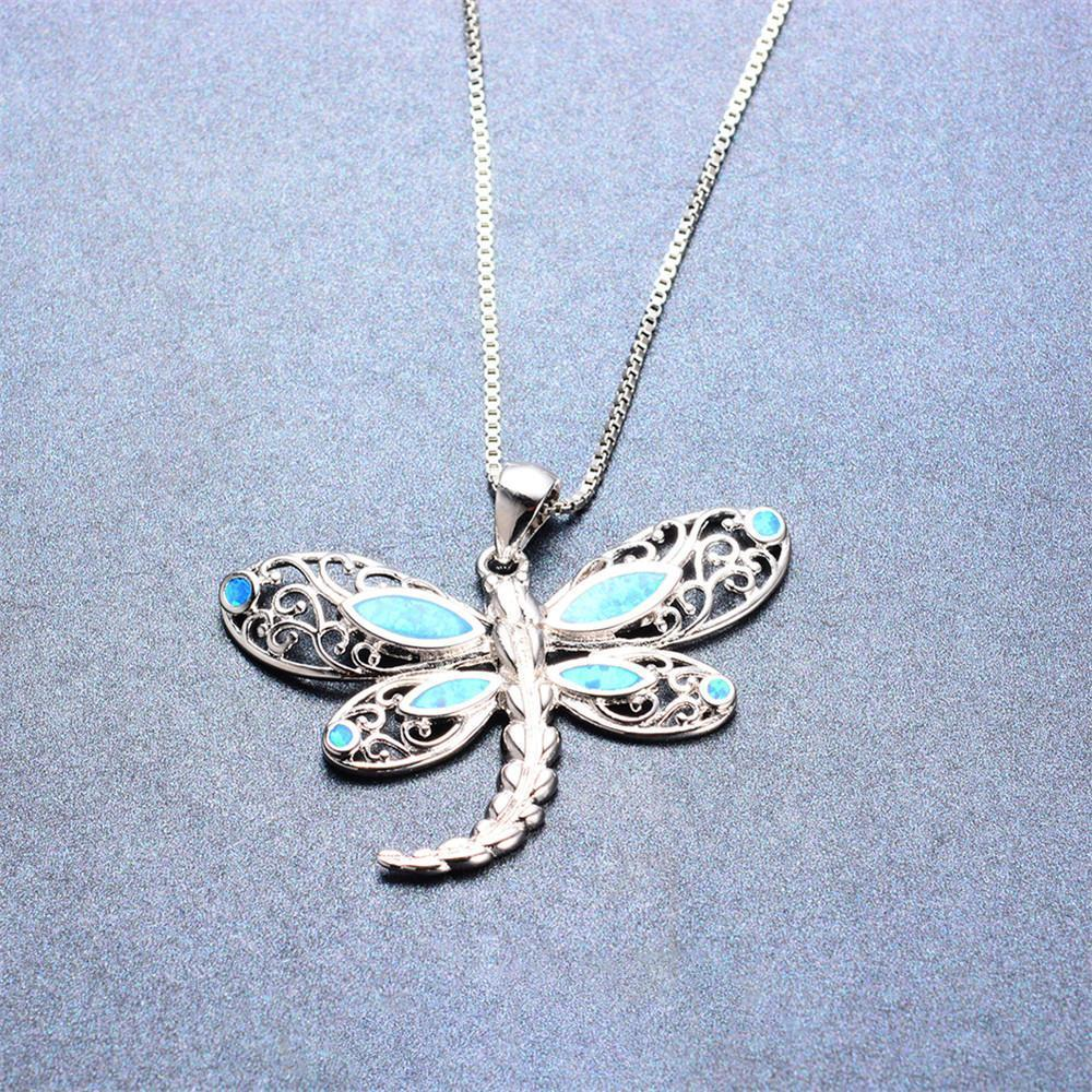 Dragonfly pendant necklace blue fire opal cho1st dragonfly pendant necklace blue fire opal mozeypictures Choice Image