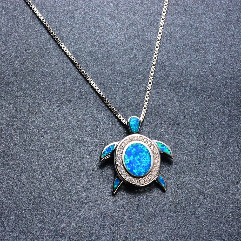 Turtle pendant necklace blue fire opal cho1st turtle pendant necklace blue fire opal mozeypictures Choice Image