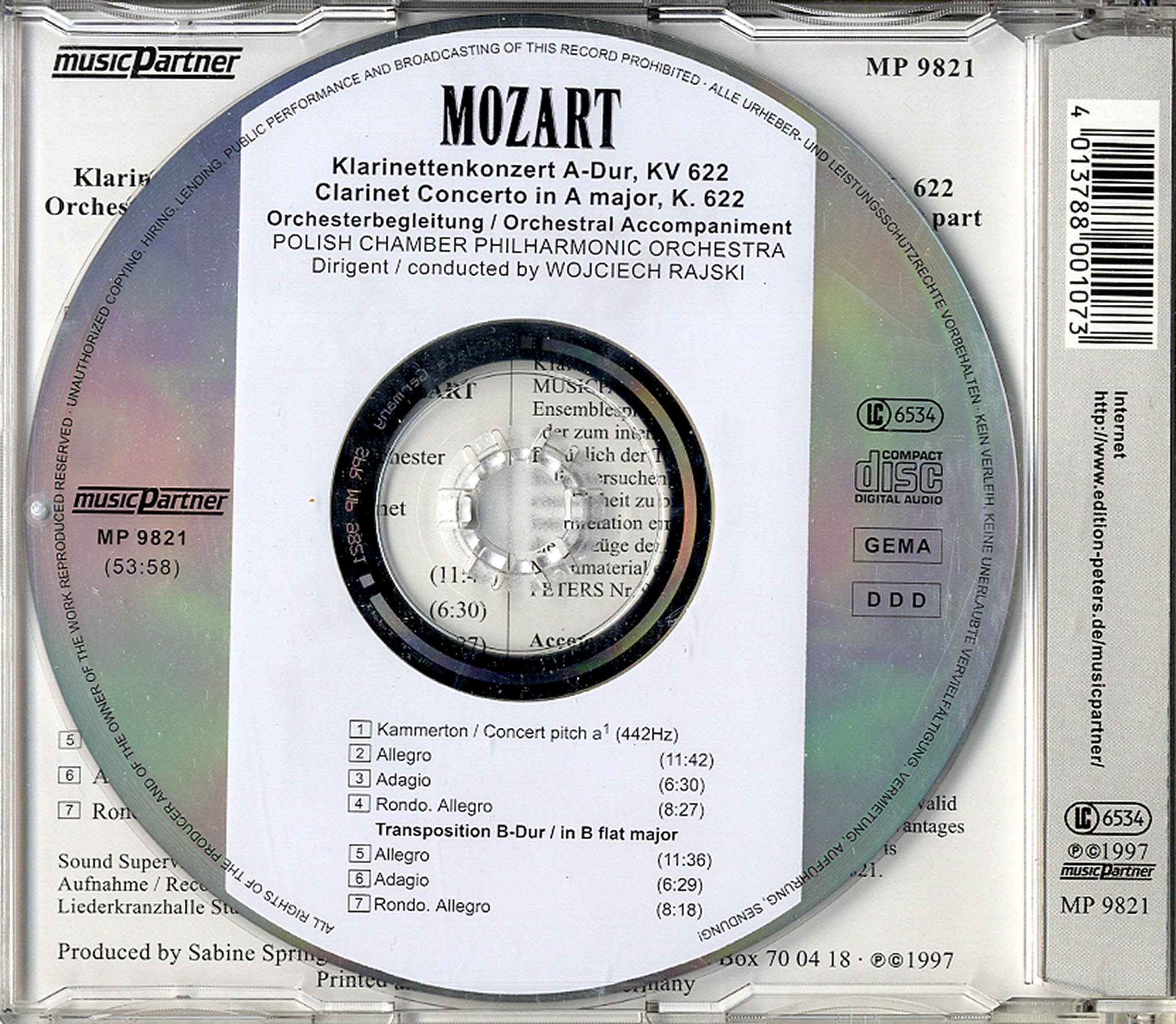 Clarinet Concerto in A Major, K. 622 Audio