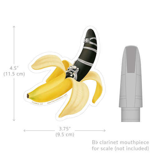 Clarinet Banana Vinyl Sticker Size comparison