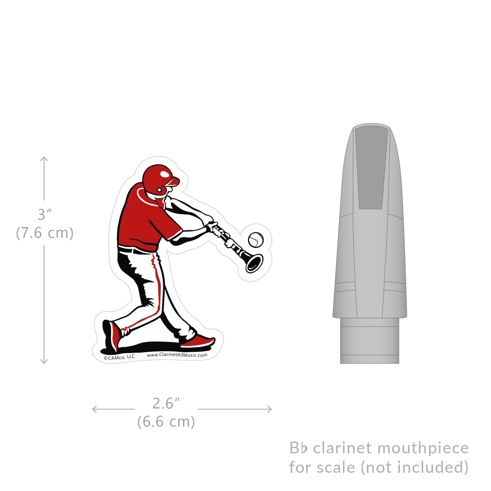 Clarinet Baseball Batter vinyl sticker size