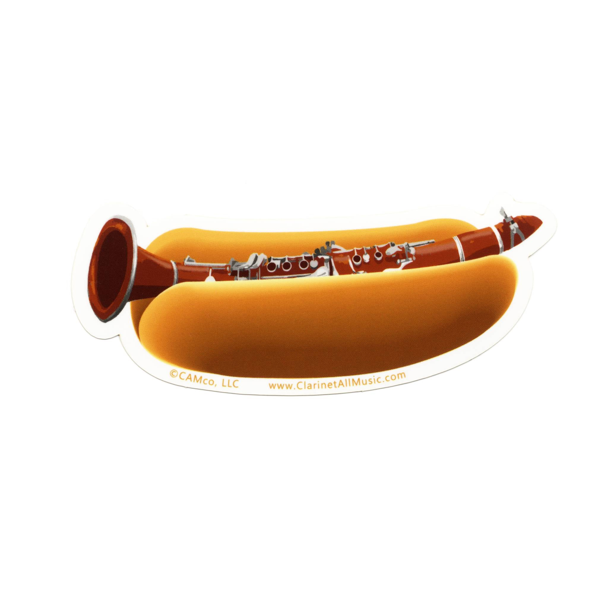 Clarinet in hotdog bun vinyl sticker