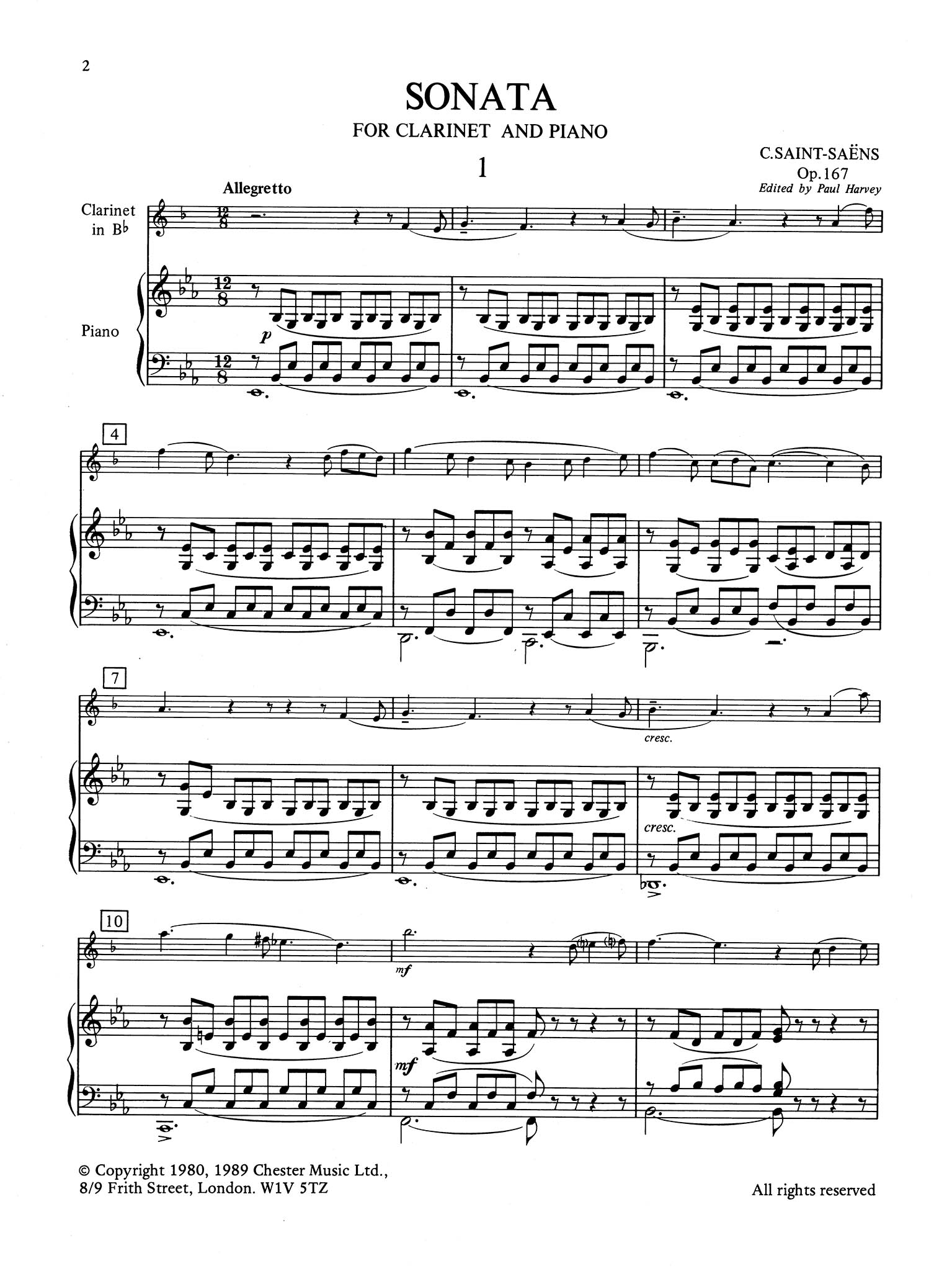 Sonata for Clarinet & Piano, Op. 167 - Movement 1