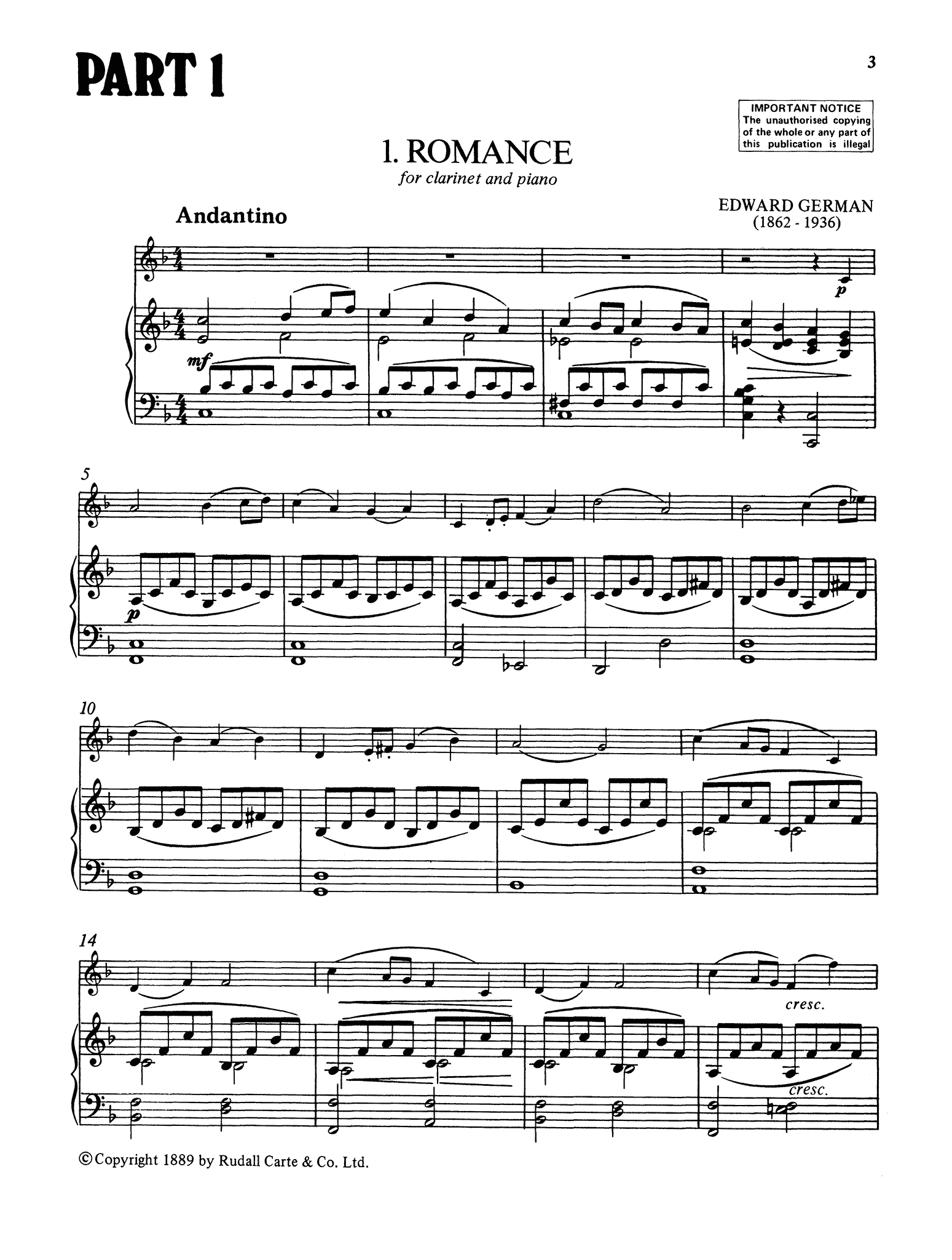 Edward German Romance Clarinet & Piano Score