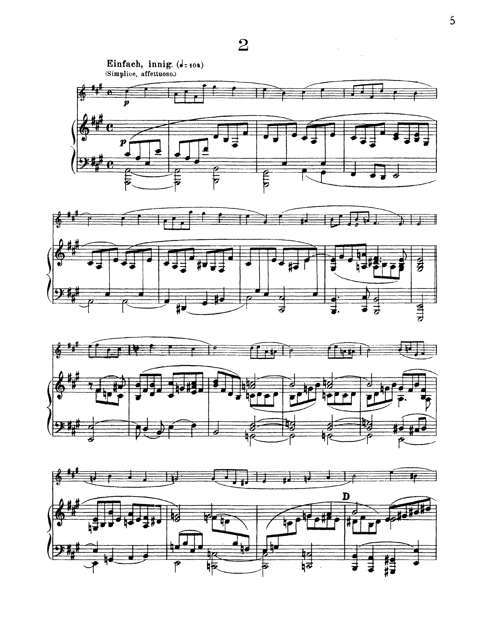 Schumann 3 Romances, Op. 94 - Movement 2