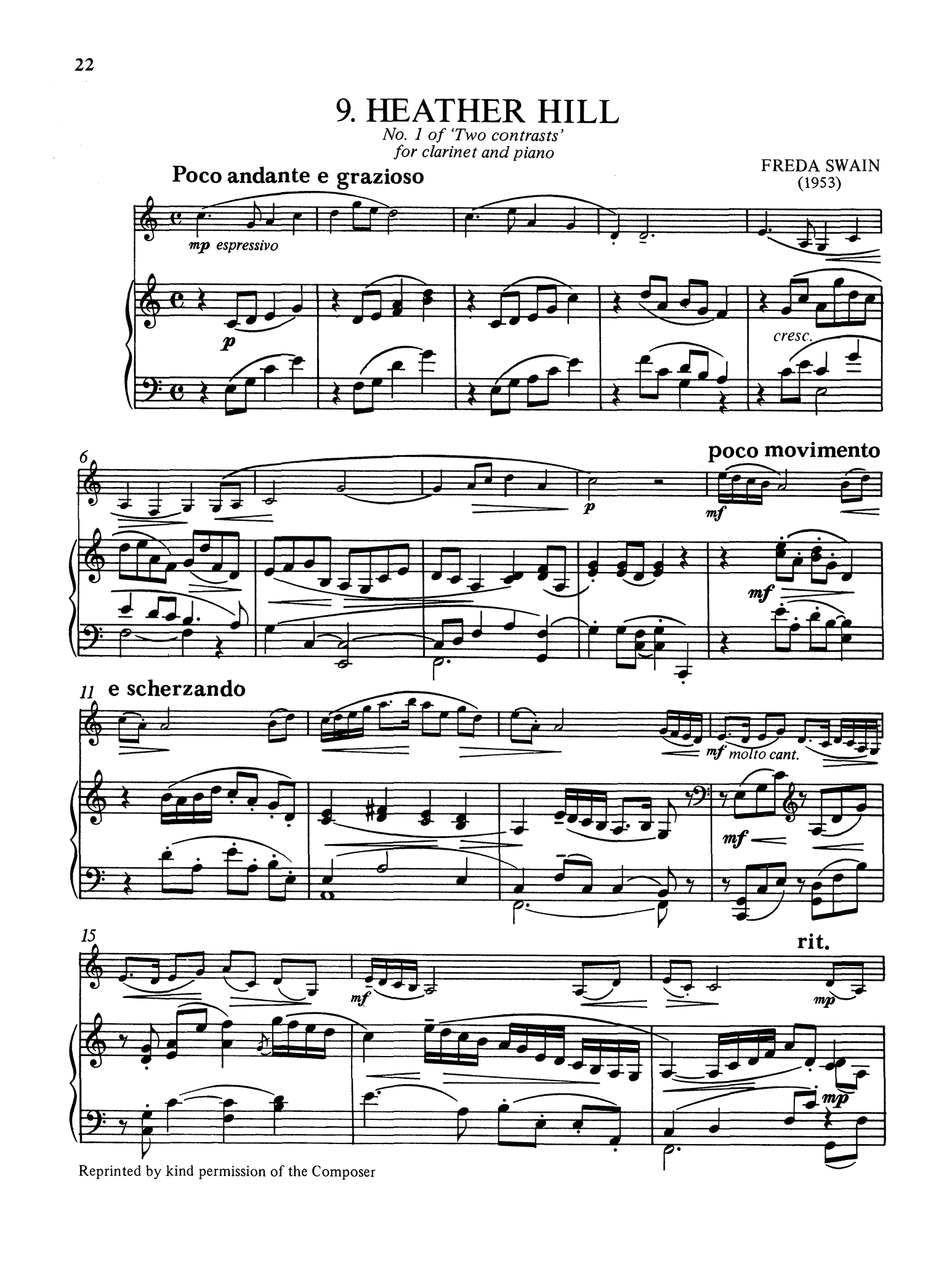 Freda Swain Heather Hill clarinet and piano score