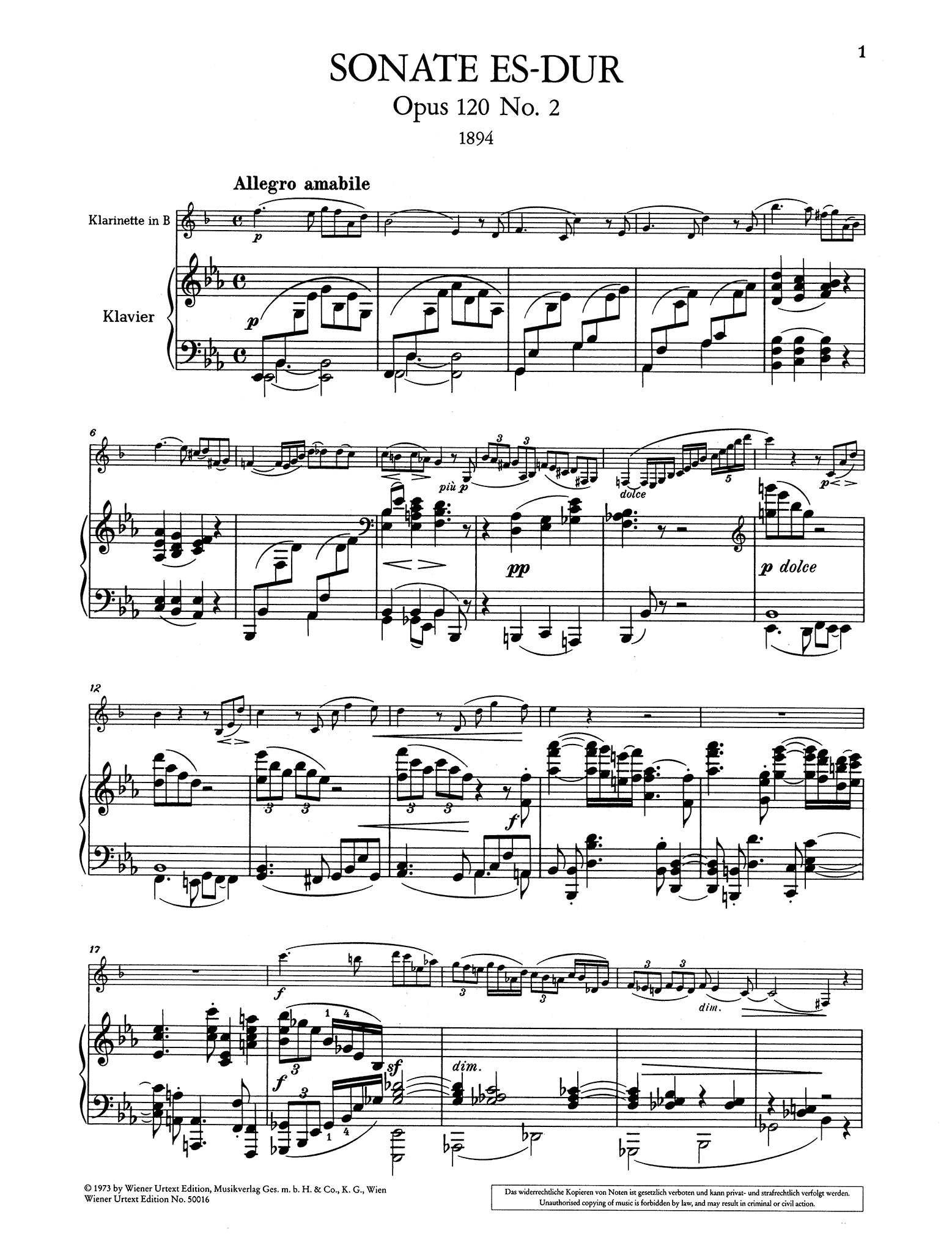 Sonata in E-flat Major, Op. 120 No. 2 - Movement 1