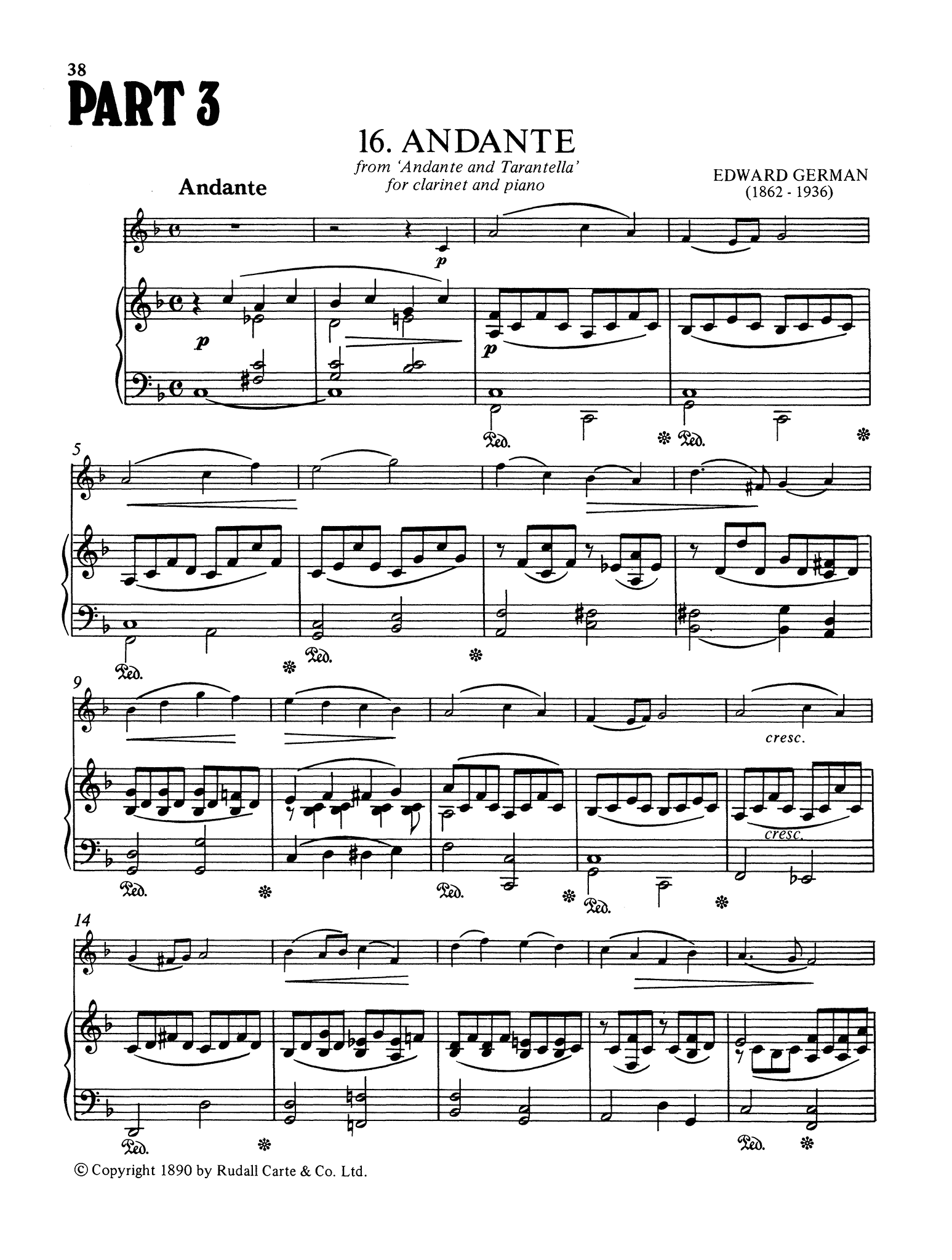 Edward German Andante clarinet & piano score