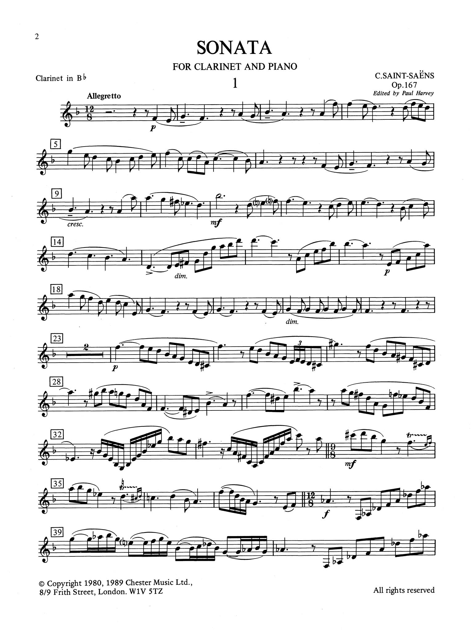 Sonata for Clarinet & Piano, Op. 167 Clarinet part