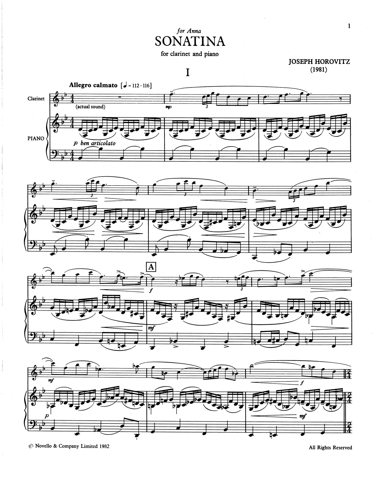 Sonatina for Clarinet & Piano - Movement 1