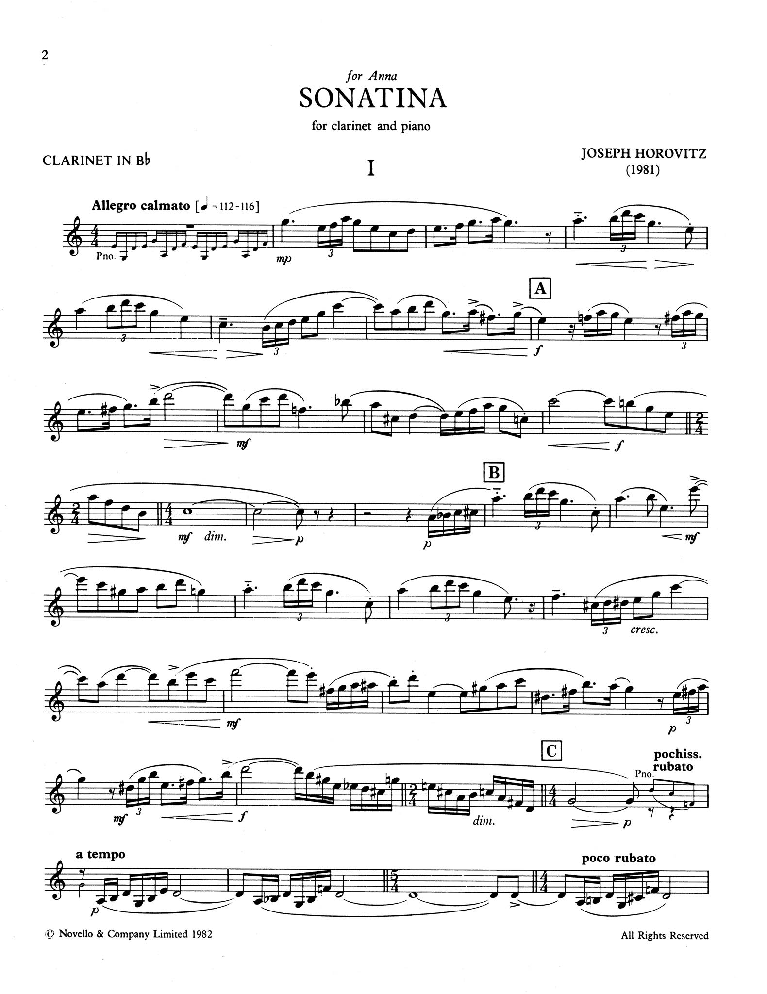 Sonatina for Clarinet & Piano Clarinet part
