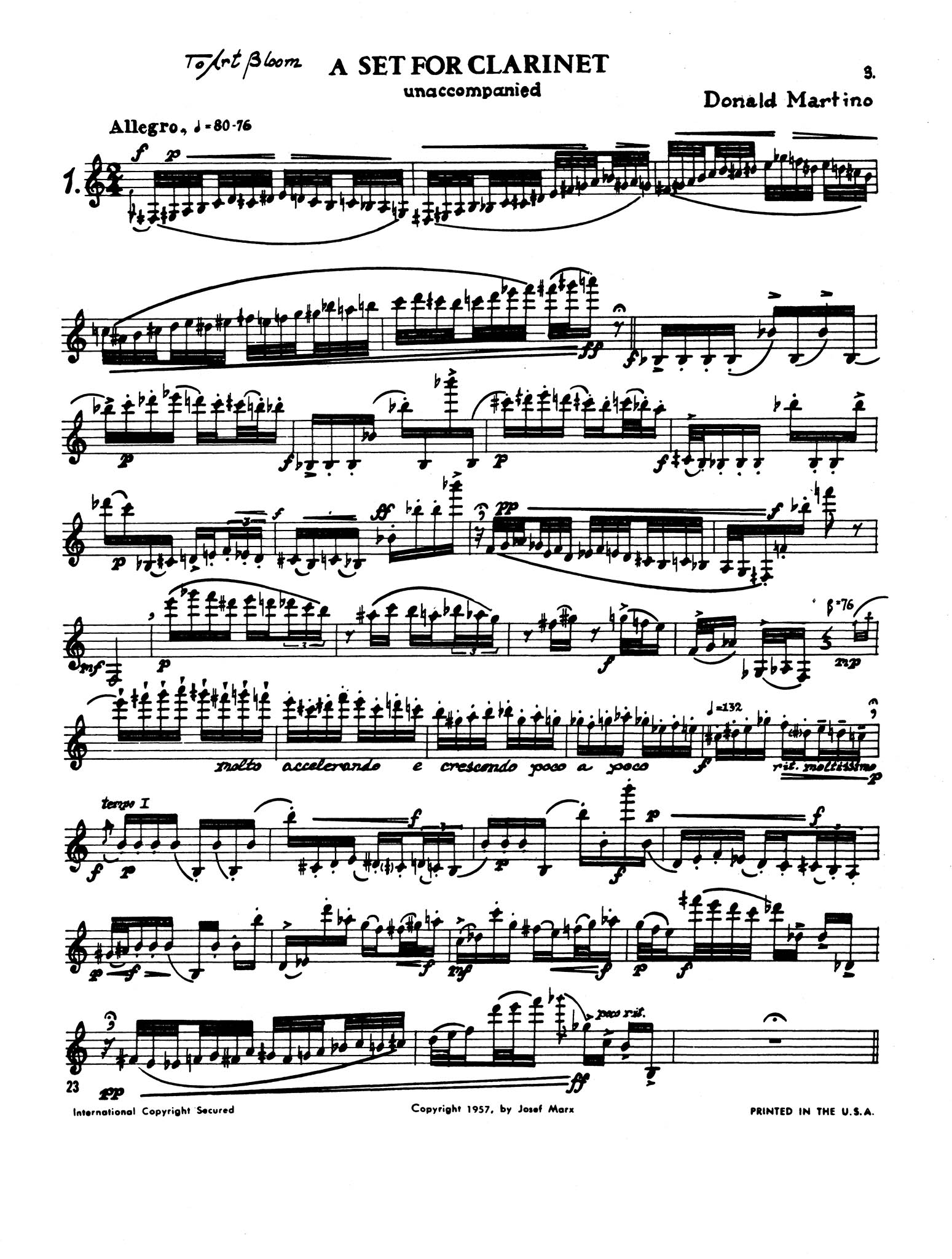 A Set for Clarinet - Movement 1