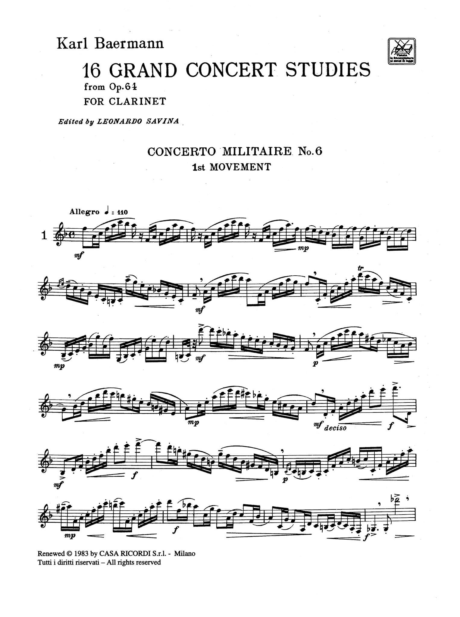 16 Grand Concert Studies for Clarinet - Page 1