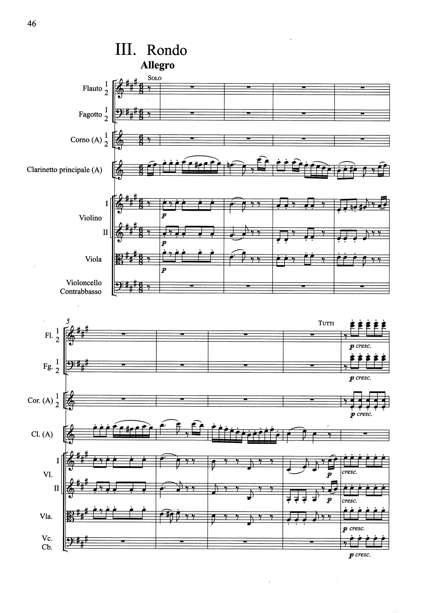 Clarinet Concerto in A Major, K. 622 - Movement 3