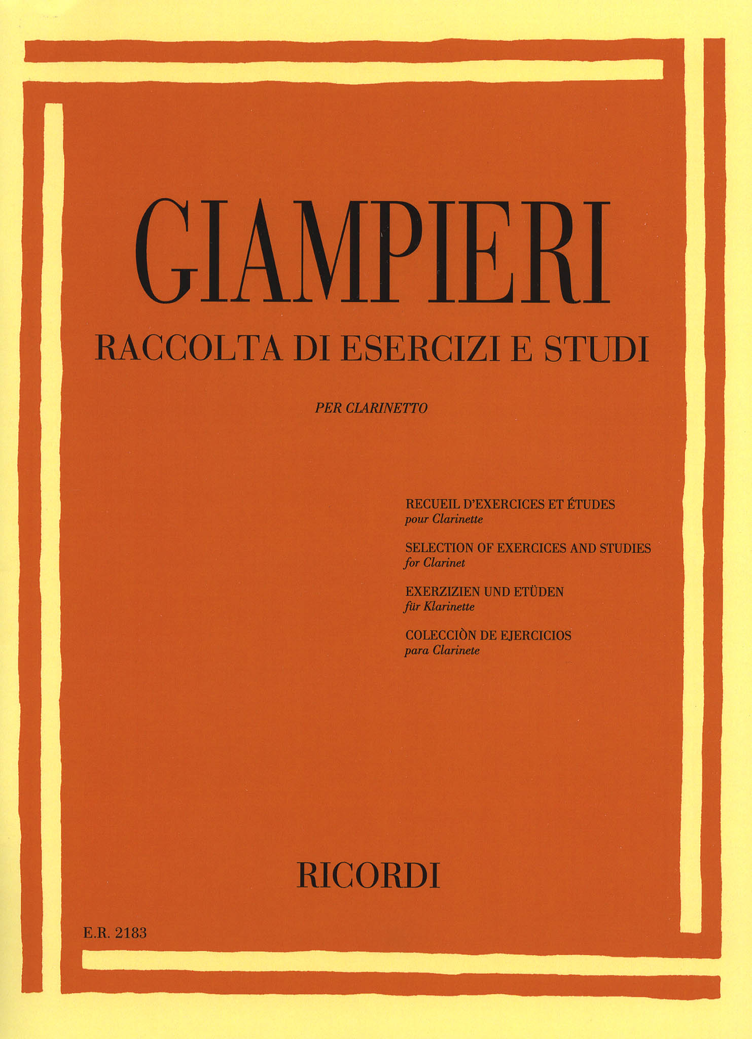 Selection of Exercises and Studies for Clarinet - Cover