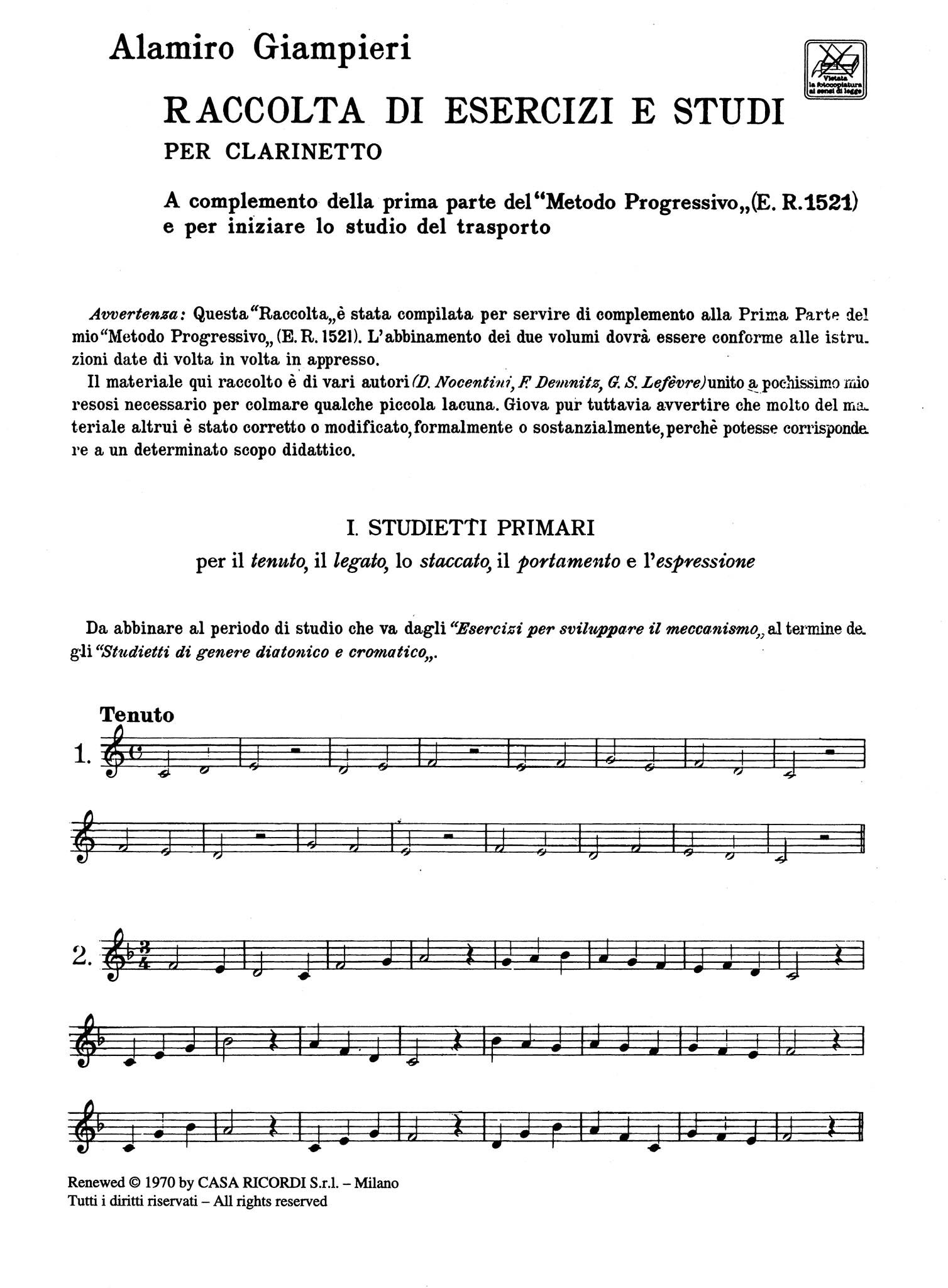 Selection of Exercises and Studies for Clarinet - Page 1