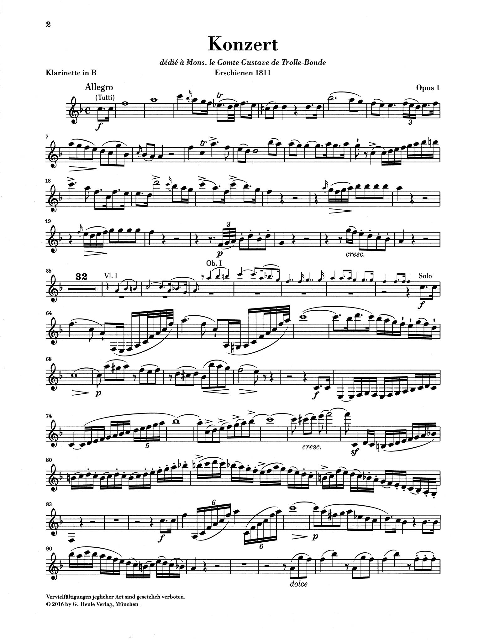 Clarinet Concerto in E-flat Major, Op. 1 Clarinet part