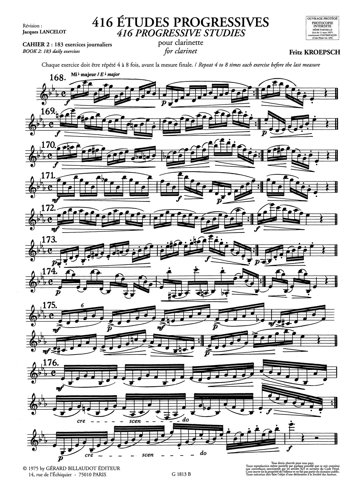 416 Progressive Studies for Clarinet, Book 2: 183 Daily Exercises Page 2