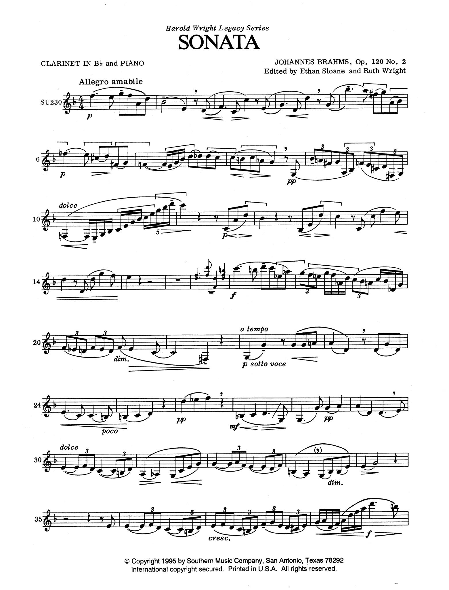 Sonata in E-flat Major, Op. 120 No. 2 Clarinet part