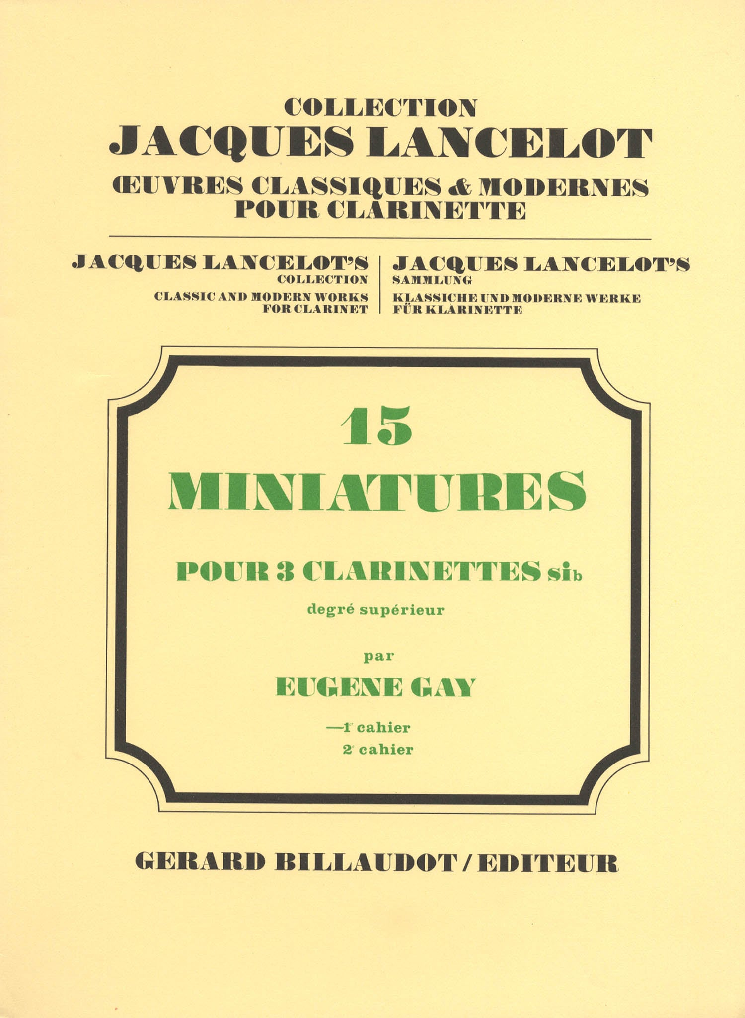 15 Miniatures for 3 B-flat Clarinets, Book 1 Cover