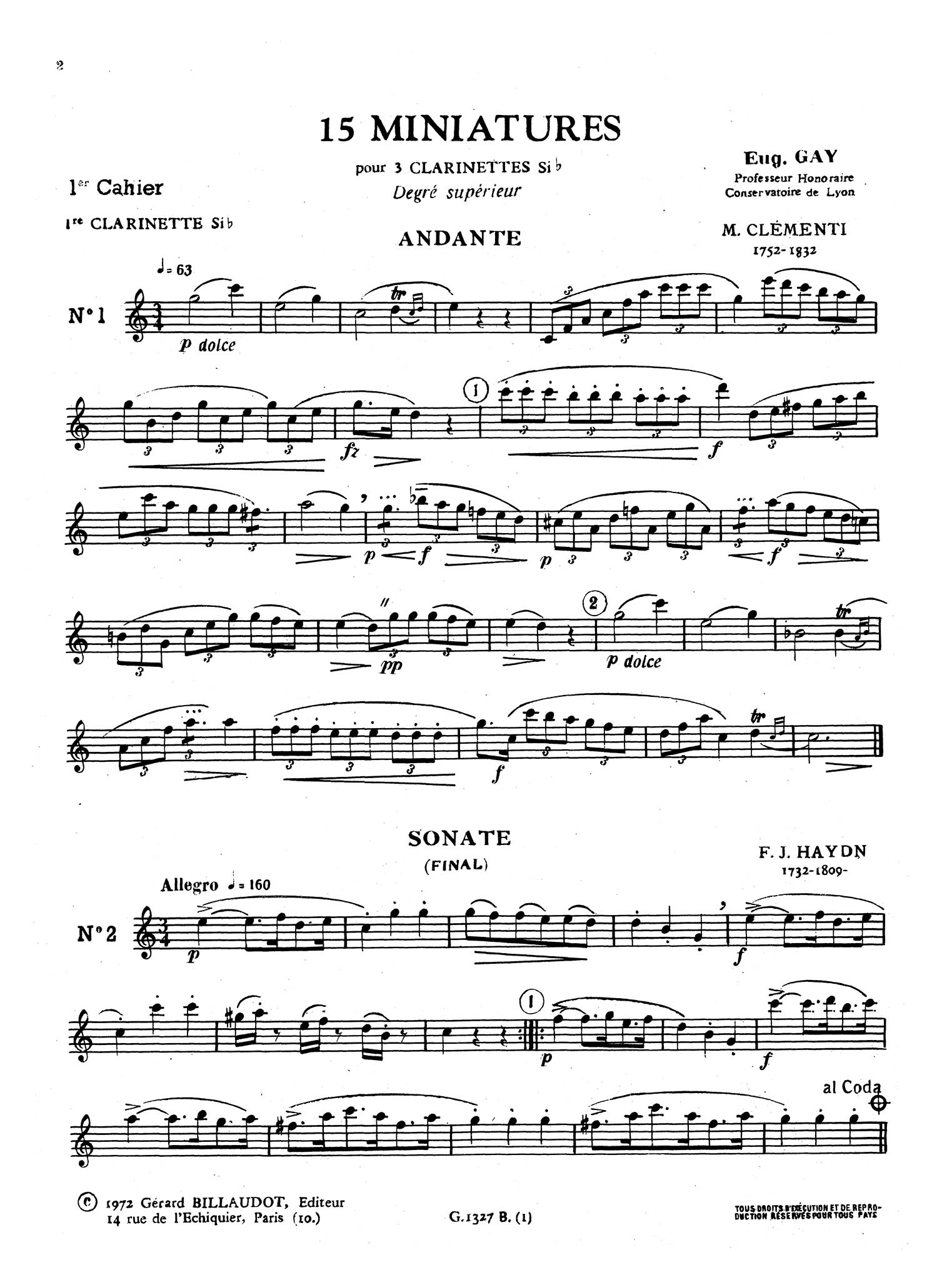 15 Miniatures for 3 B-flat Clarinets, Book 1 First Clarinet part
