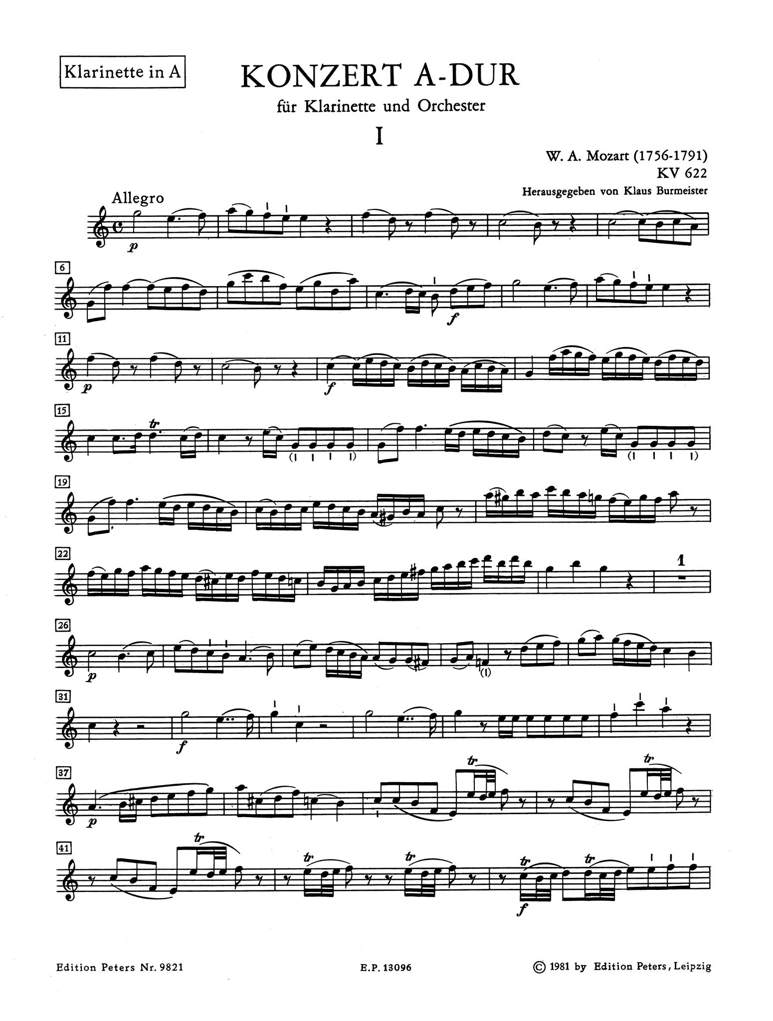 Clarinet Concerto in A Major, K. 622 Clarinet part