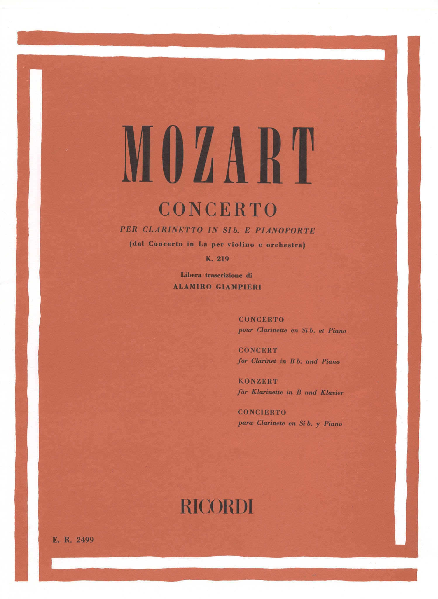 Violin Concerto No. 5, K 219 Cover