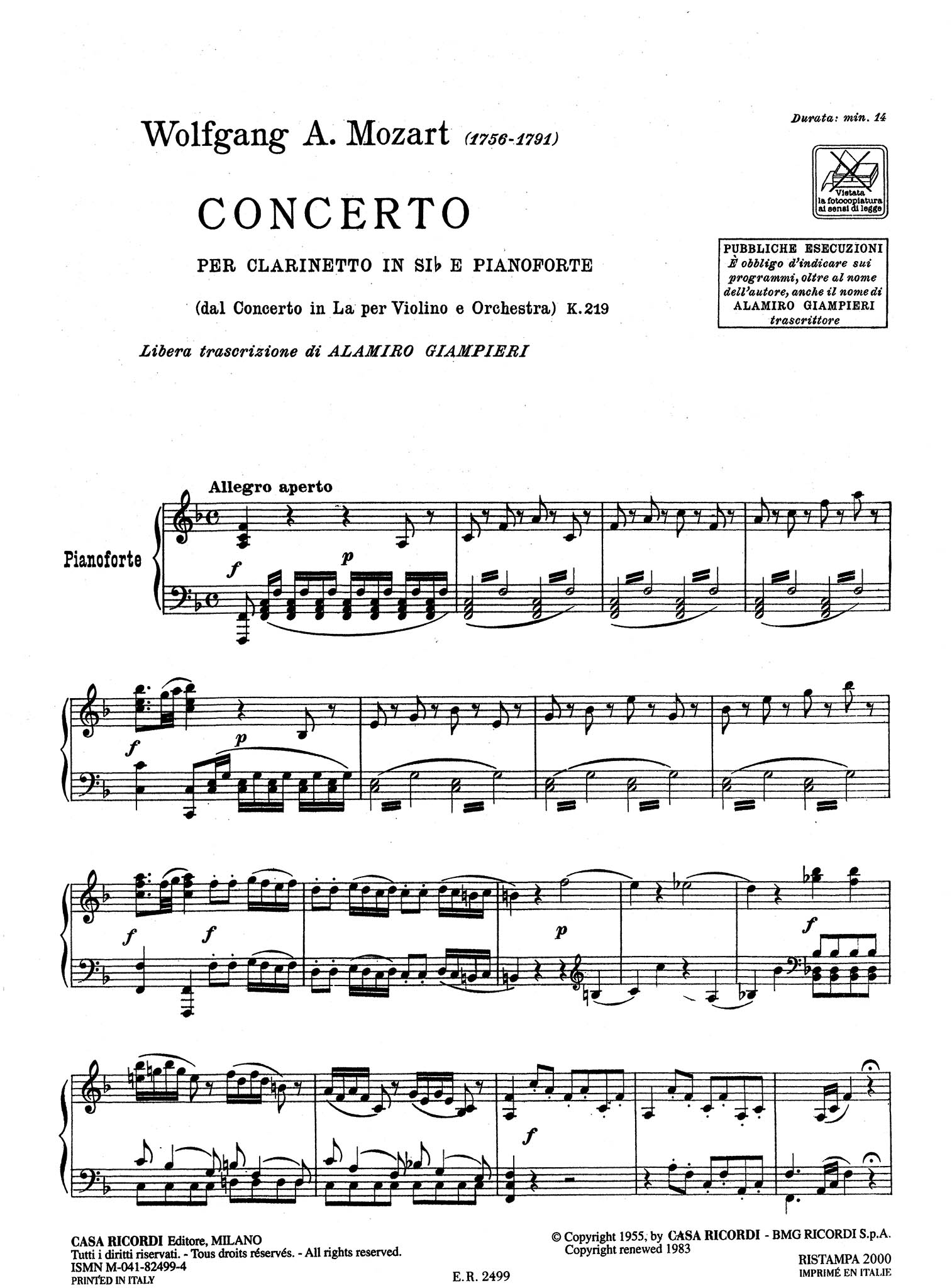 Violin Concerto No. 5, K 219 - Movement 1