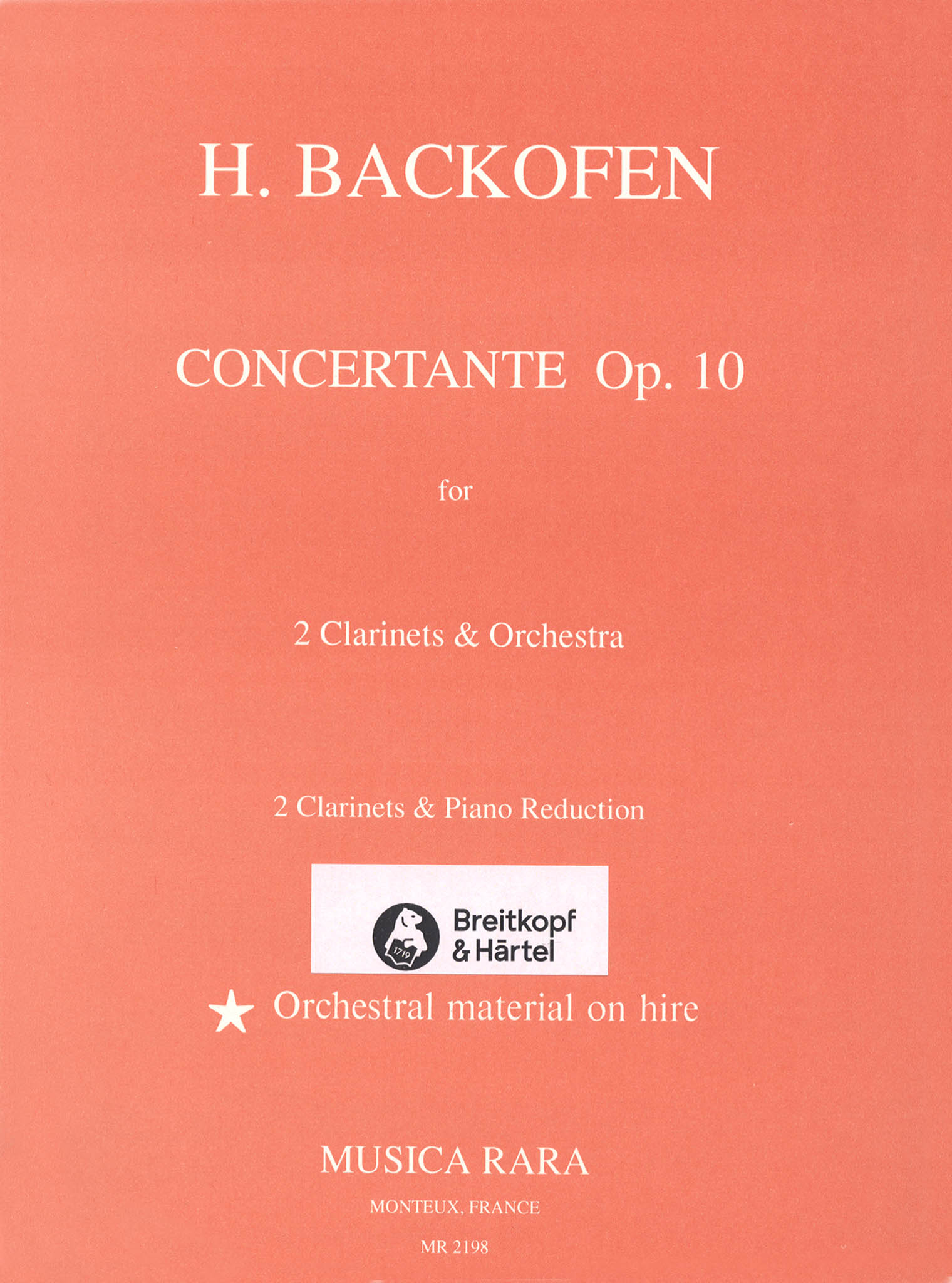 Backofen Sinfonia Concertante, Op. 10 Cover