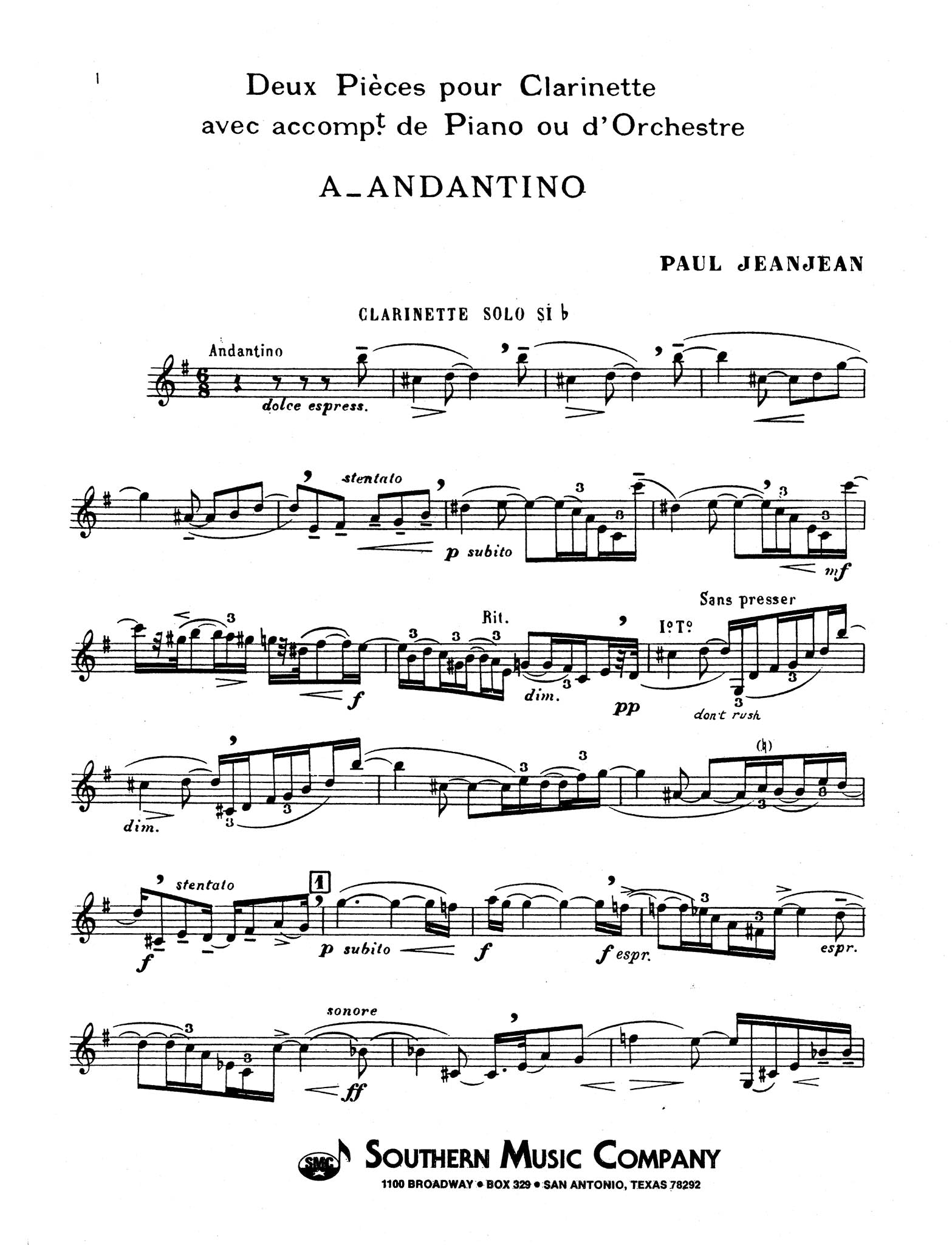 Andantino Clarinet part
