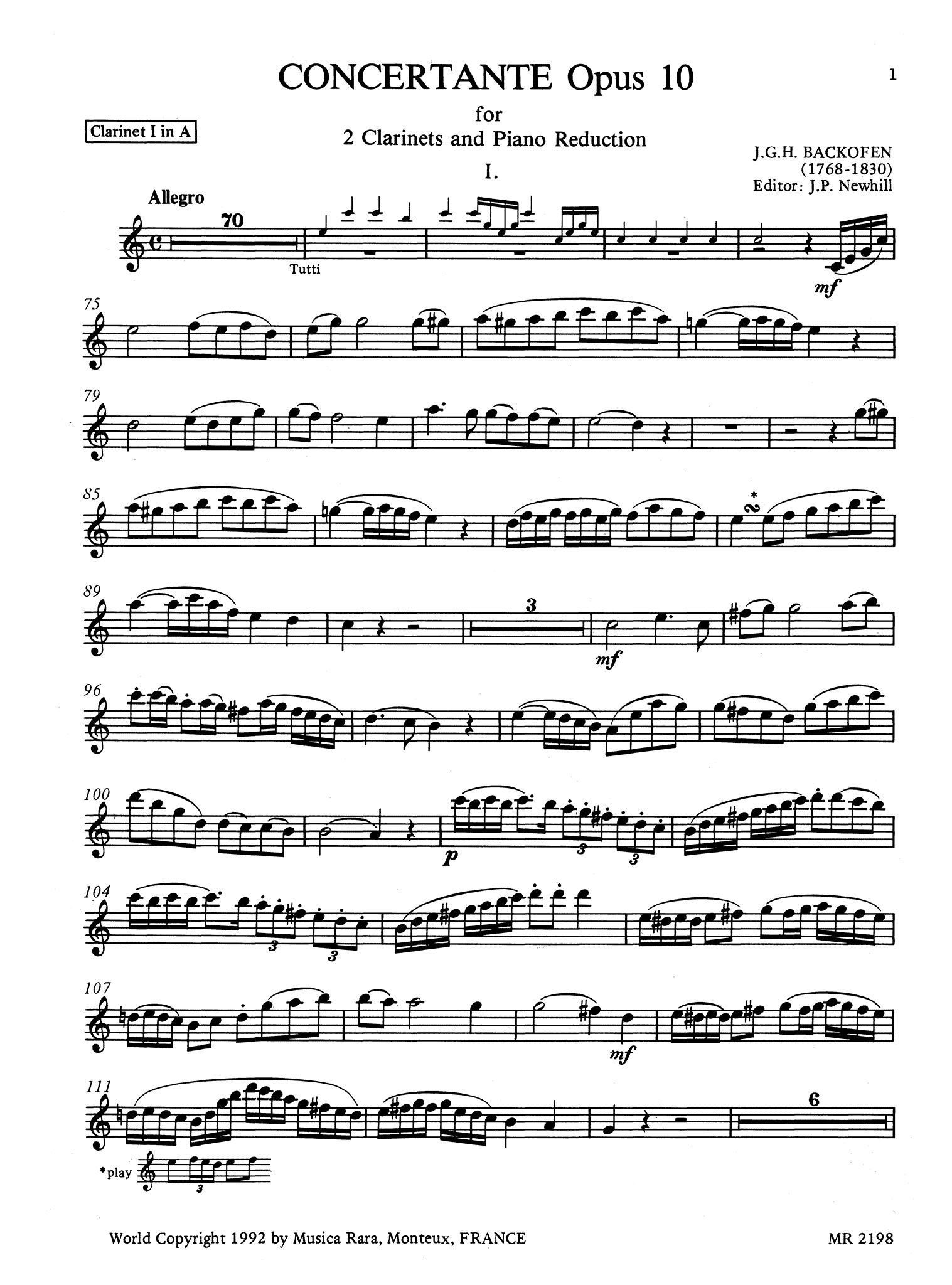 Backofen Sinfonia Concertante, Op. 10 First Clarinet part