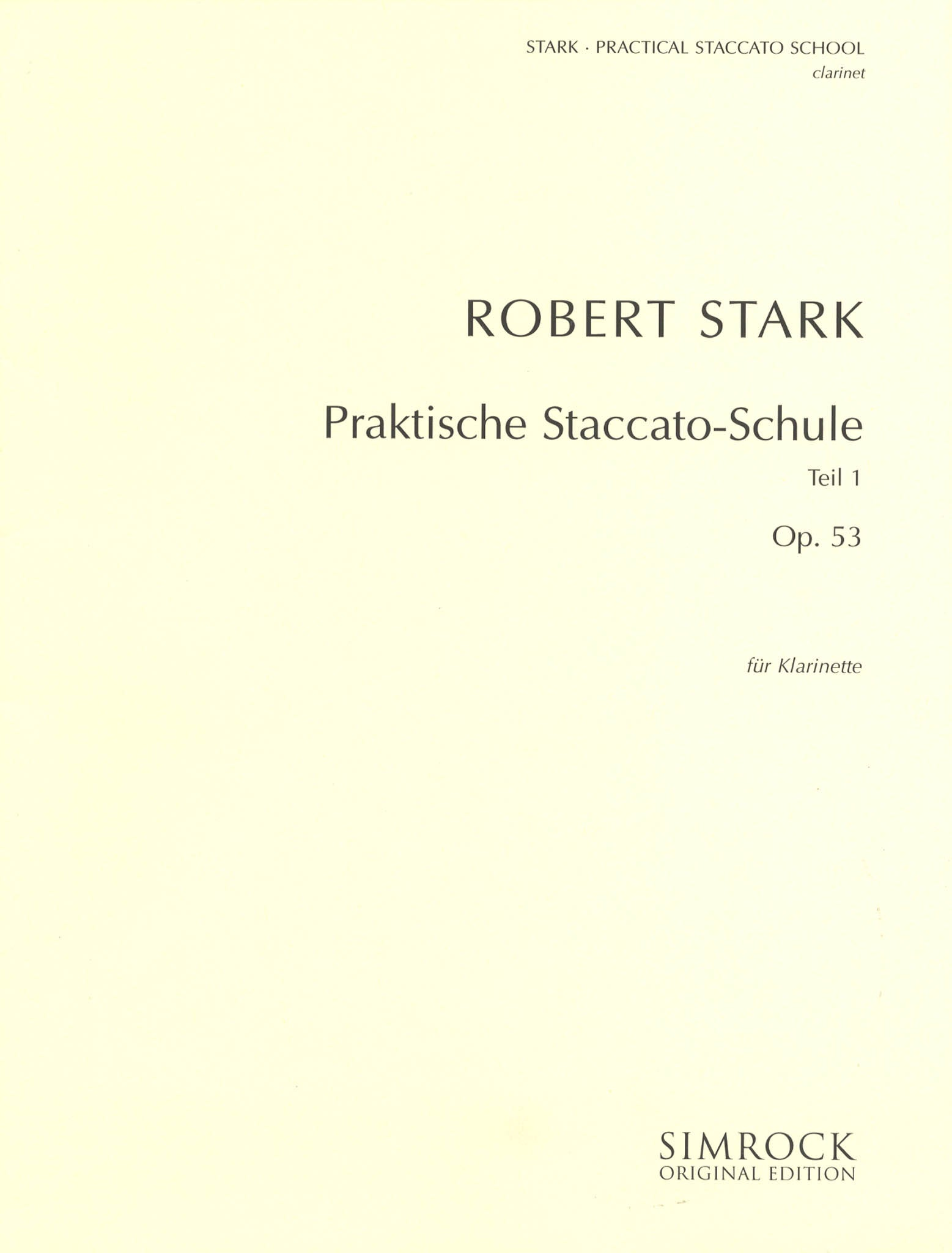 Practical Staccato School for Clarinet, Book 1 Cover