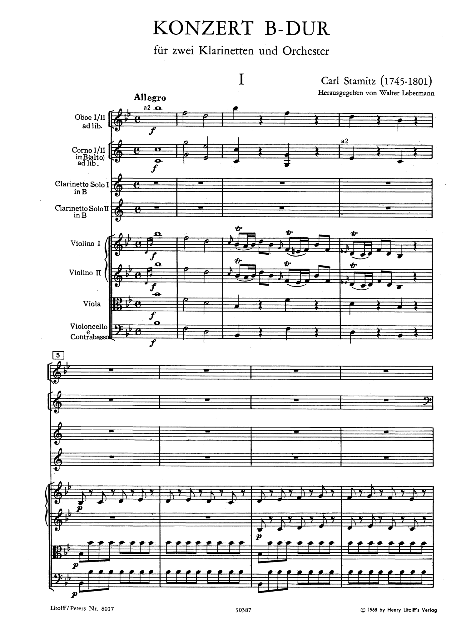 Concerto for 2 Clarinets in B-flat Major - Movement 1