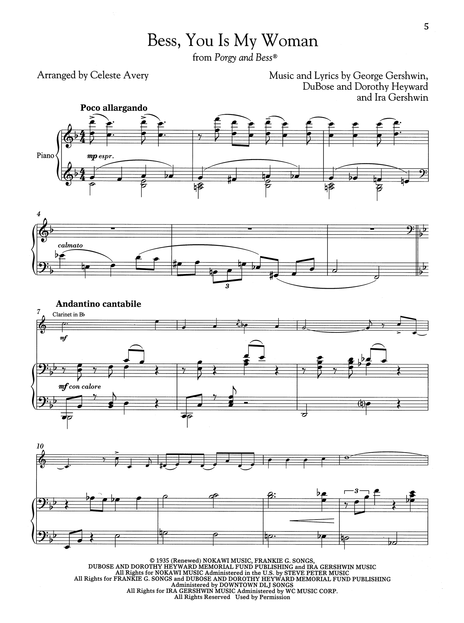 Gershwin Bess You Is My Woman arranged for Clarinet & Piano score