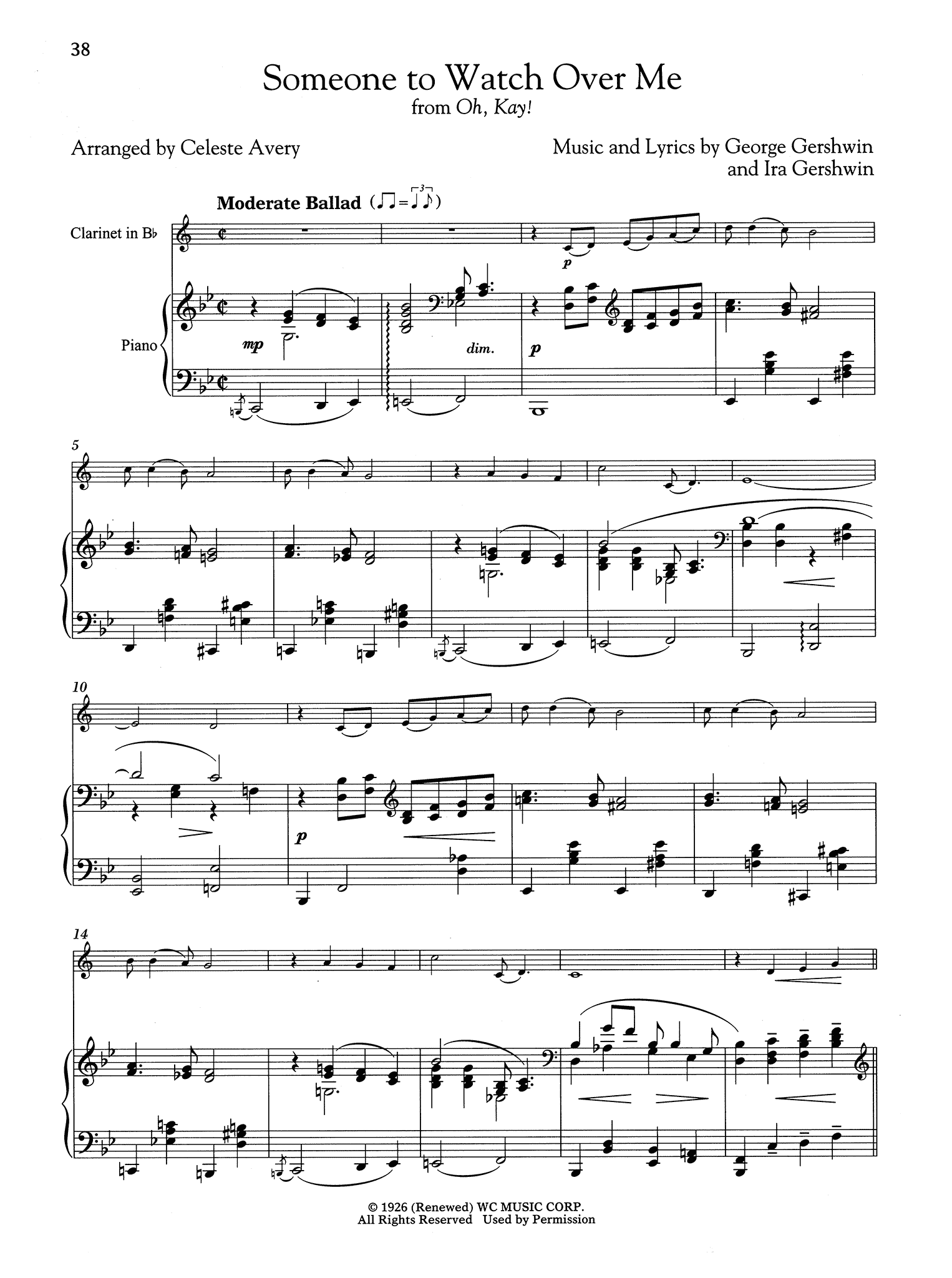 Gershwin Someone to Watch Over Me arranged for Clarinet & Piano score