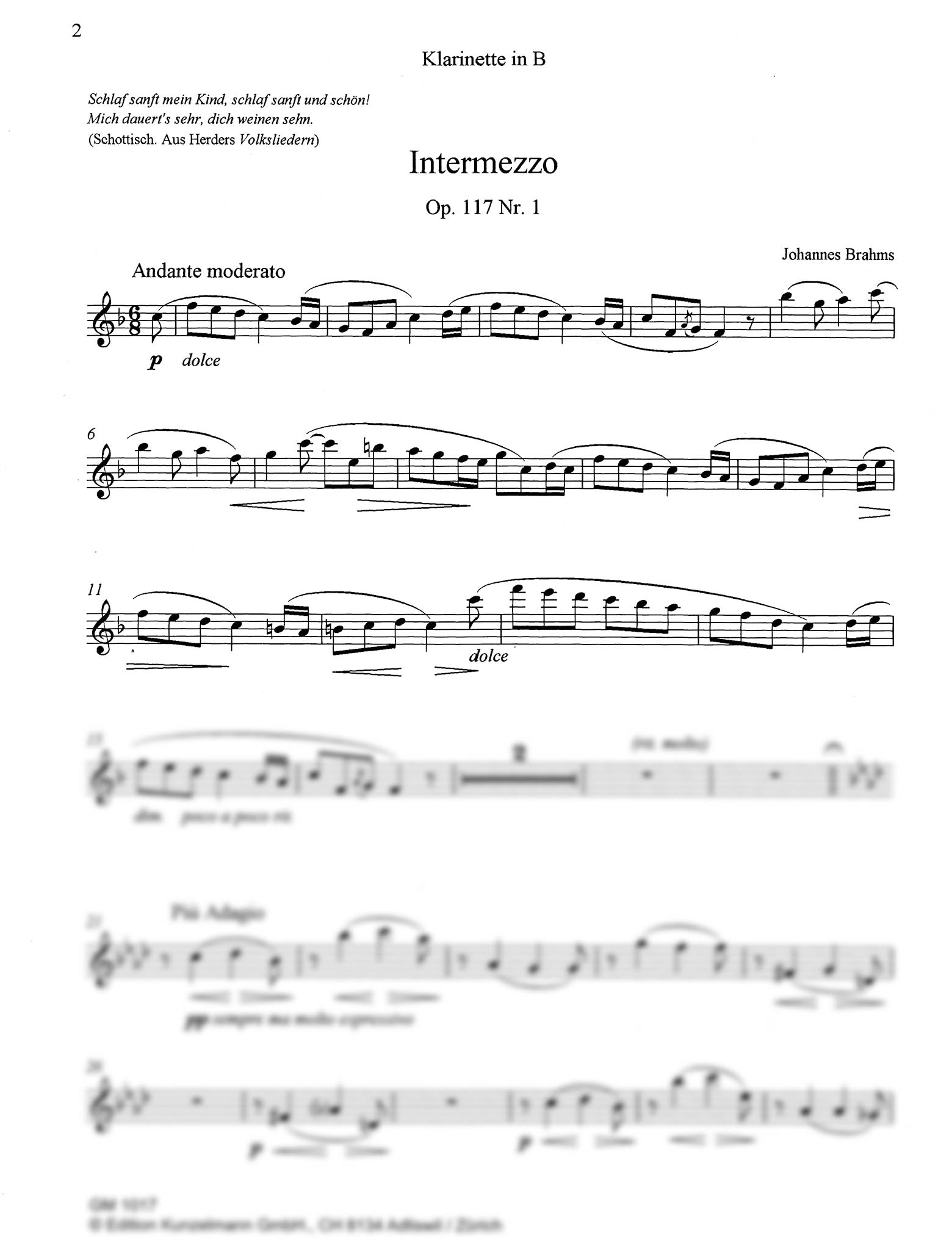 Intermezzo, Op. 117 No. 1 Clarinet part