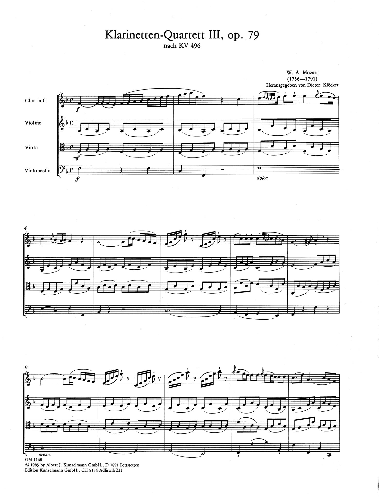 Piano Trio No. 1 in G Major, K. 496 - Movement 1