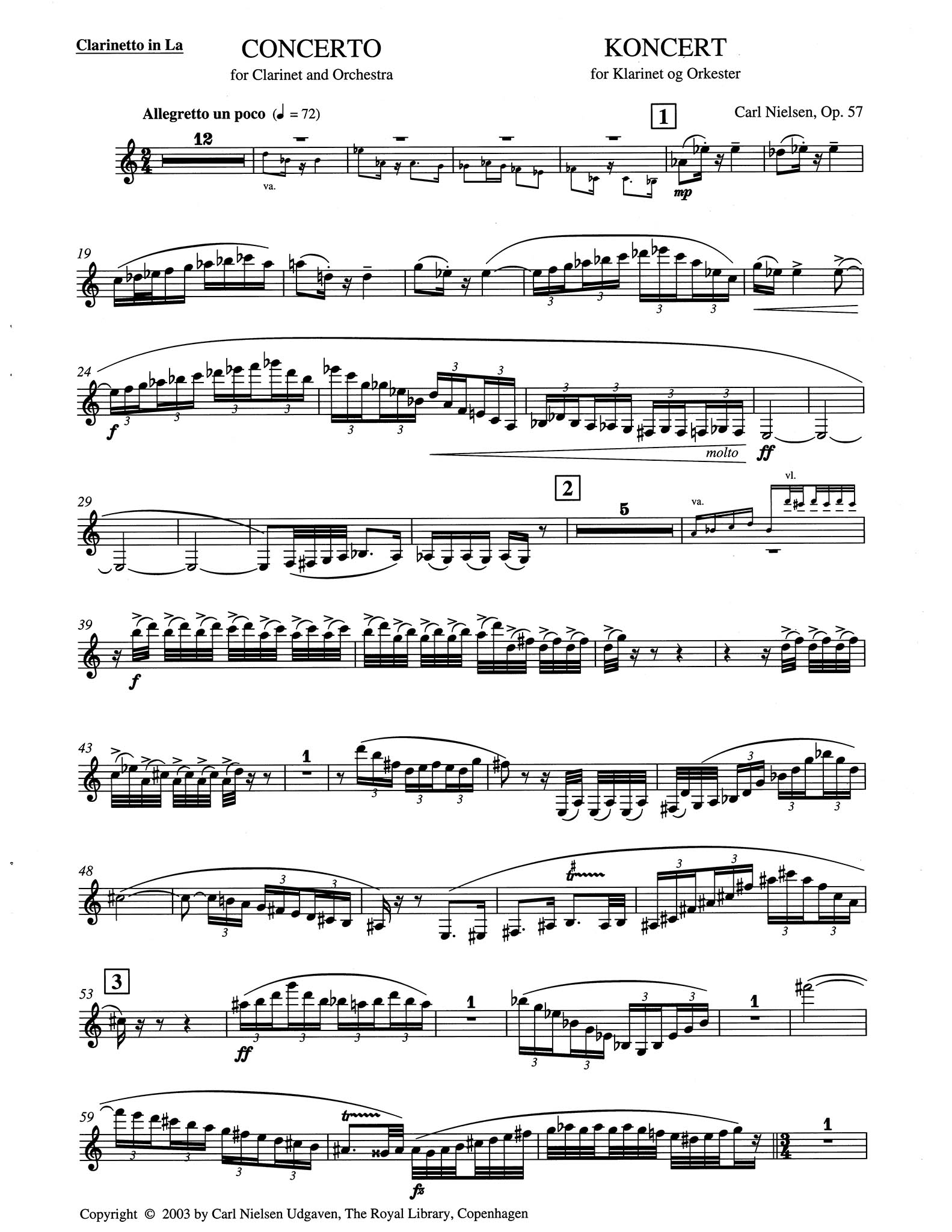 Clarinet Concerto, Op. 57 (CNW 43) Clarinet part